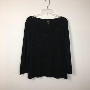 Eileen Fisher Beaded Black Merino Wool Sweater. L